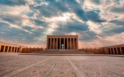 Anitkabir, Ankara, mausoleum of Mustafa Kemal Ataturk, evening, sunset, mausoleum, Turkey