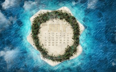 2019 July calendar, tropical island, summer, 2019 calendars, island view from above, creative art, summer 2019 concepts, calendars