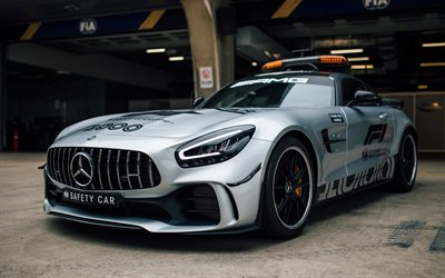 Mercedes-Benz AMG GT R, 2019, Sicurezza di Formula 1 Auto, argento, supercar, F1, auto da corsa, con la Safety Car in Formula 1, Mercedes