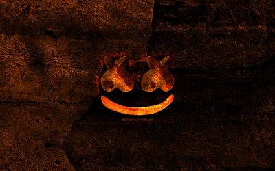marshmello fiery-logo, superstars, orange stein hintergrund, christopher comstock, marshmello, kreativ, marshmello-logo, marken, marshmello dj