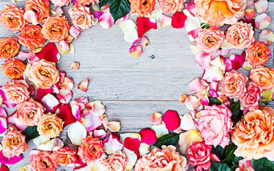 Roses petals heart frame, 4k, colorful roses petals, love concepts, heart frames, floral frames, wooden backgrounds