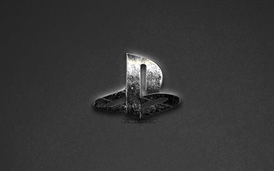 PS4, PlayStation-logo, metallinen logo, harmaa tausta, PlayStation 4 logo