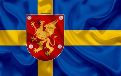Download Wallpapers Flag Of Ostergotland County 4k Silk Flag Ostergotland Lan Flag Silk Texture Ostergotland County Sweden Regions Of Sweden Ostergotland Flag For Desktop Free Pictures For Desktop Free