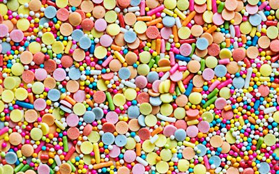 colorful candies background, 4k, macro, candies textures, sweets, food background, candies backgrounds, candies