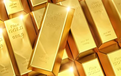 gold bars, 3d gold, gold background, 999 gold sample, 999 gold bars, 3d art, finance concepts