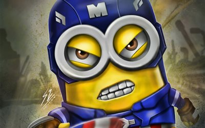 Captain America Minion, superheroes, artwork, minions, Marvel Comics, Captain America