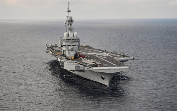 Charles de Gaulle, R91, French aircraft carrier, nuclear-powered aircraft carrier, Marine Nationale, French Navy, Rafale M, warships, Dassault Rafale, France, seascape