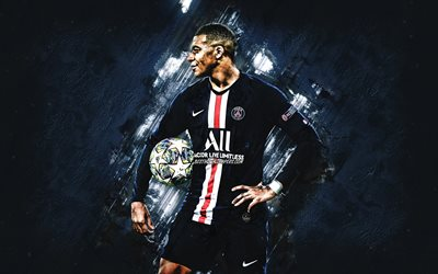 Kylian Mbappe, le Paris Saint-Germain, PSG, français, joueur de football, la star du football, ligue 1, france, de pierre bleue d'arrière-plan, le football
