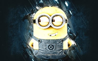 Dave, Despicable Me, minions, Dave the Minion, blue stone background, Despicable Me characters, Dave Minion