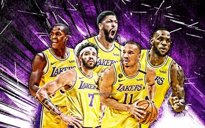 4k, LeBron James, Rajon Rondo, Anthony Davis, JaVale McGee, Avery Bradley, art grunge, Los Angeles Lakers, basket-ball, NBA, équipe des Los Angeles Lakers, rayons abstraits violets, stars du basket-ball, LA Lakers