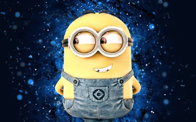 Dave, 4k, blue neon lights, Dave the Minion, Minions The Rise of Gru, fan art, Despicable Me, Minions, Dave Minions