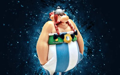 Asterix, 4k, blue neon lights, Asterix the Gaul, comic characters, Asterix 4K