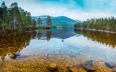 Karelia, 4k, crystal clear lake, autumn, mountains, forest, Russia, beautiful nature, Asia