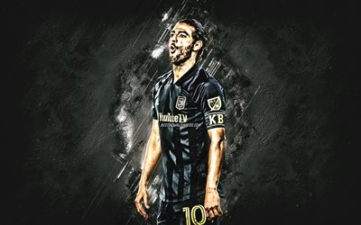 Carlos Vela, Los Angeles FC, MLS, Major League Soccer, mexican soccer player, portrait, gray stone background, football, LAFC, Carlos Alberto Vela Garrido