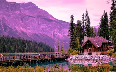 Emerald Lake, illalla, sunset, mountain lake, mountain maisema, Alberta, Kanada
