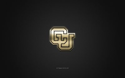 Colorado Buffaloes logo, American club de football de la NCAA, logo doré, gris en fibre de carbone de fond, football Américain, Boulder, Colorado, USA, Colorado Buffaloes