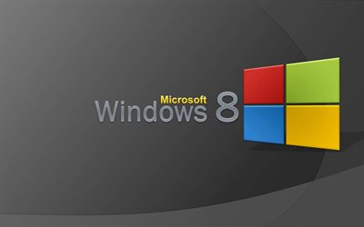 windows 8, le logo 3d, fond gris, créatif