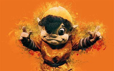 Brownie the Elf, official mascot, Cleveland Browns, 4k, art, NFL, USA, grunge art, symbol, orange background, paint art, National Football League, NFL mascots, Cleveland Browns mascot