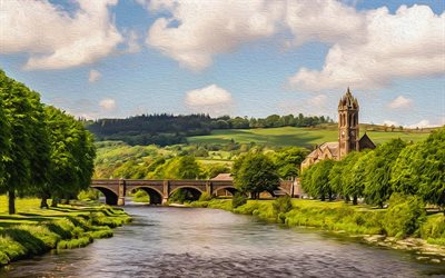 Peebles, 4k, summer, bridge, oil painting, Scotland, United Kingdom