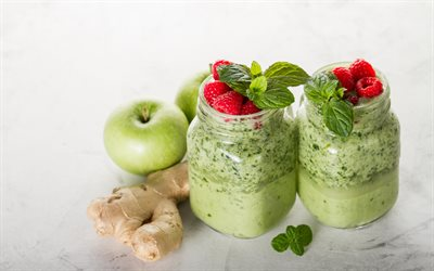 Smoothies, healthy food, apples, mint, ginger, apple green smoothies, diet concepts