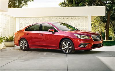 Subaru Legacy, 2018, Sedan, new Legacy, red Legacy, Japanese cars, new cars, Subaru