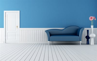 4k, hallway, blue room, modern apartment, blue sofa, modern design, interior idea