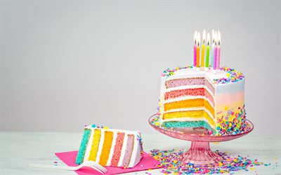 Birthday cake, candles, happy birthday, rainbow cake, sweets, dessert, cakes