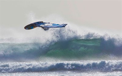 Windsurfing, big waves, extreme sports, summer, beach, ocean, waves