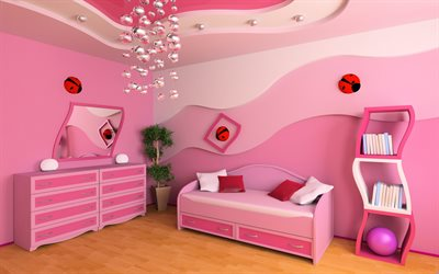 bedroom project for a little girl, pink childrens room, modern interior design, project, playroom