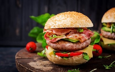 4k, hamburger, close-up, fastfood, cutlets, burger