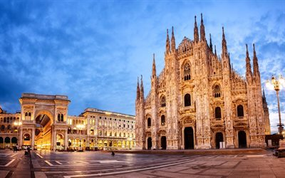 Cathedral Square, Milan, Cathedral, Italy, evening