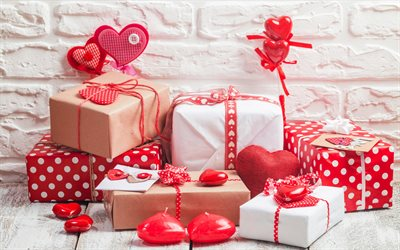 Valentines Day, gifts, romantic concepts, love concepts, red hearts, candles