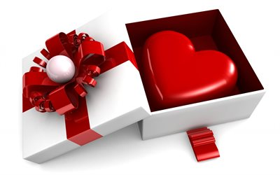 Happy Valentines Day, 3d gift box, 3d red heart, red 3d bow, love concepts