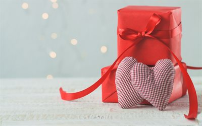 Valentines Day, romantic holiday, red boxes gifts, hearts, love concepts