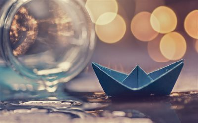 paper blue boat, water, origami, boat