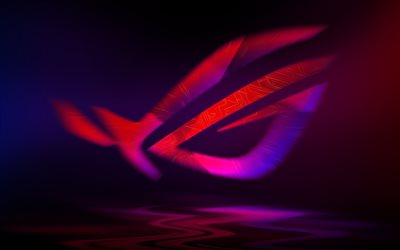 ROG logo, Republic Of Gamers, purple neon logo, creative art, ASUS