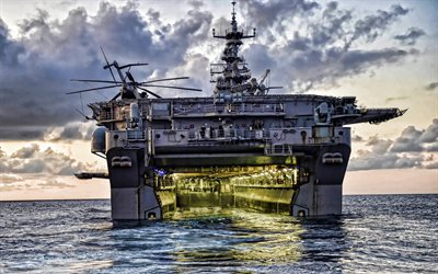 USS Iwo Jima, HDR, LHD 7, sea, 4k, assault ships, United States Navy, US army, US Navy