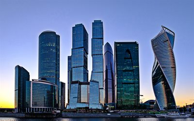Moscow City, skyscrapers, sunset, evening, modern buildings, Moscow, Russia, Russian Federation