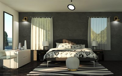 bedroom project, classic style, modern interior design, bedroom, white-gray walls in the bedroom, classic style bed