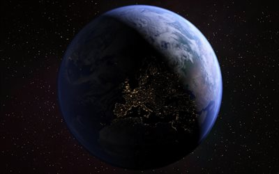 Europe from space, night, galaxy, Earth, stars, sci-fi, universe, NASA, planets, Earth from space, Africa from space