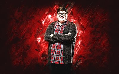 Jordan Smith, american singer, portrait, red stone background, popular singers