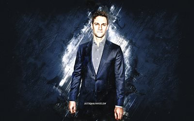 Justin Bartha, American actor, portrait, blue stone background, creative art
