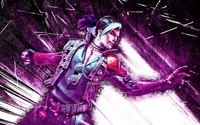 Hayato, grunge art, 4k, GFF, Free Fire Battlegrounds, Garena Free Fire characters, violet abstract rays, Hayato Skin, Garena Free Fire, Hayato Free Fire