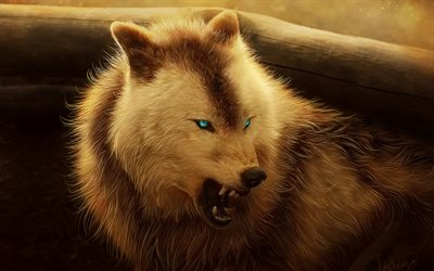 wolf, fantasy art, hunting, blue eyes, predator