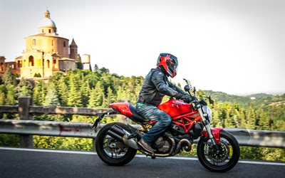 Ducati Monster 821, 4k, piloto, italiano de motos, Ducati