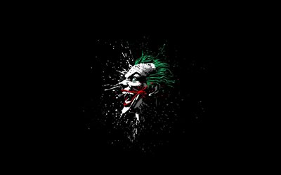 joker, art, supervillain, darkness, black background
