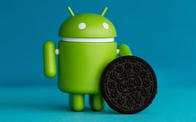Android 8, Android Oreo, new version, android figure, 3d, black biscuits