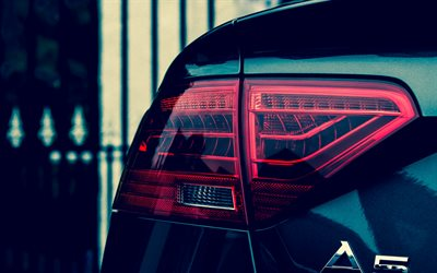baklampa, 4k, Audi A5, tyska bilar, close-up
