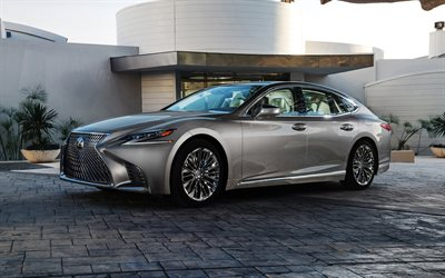 4k, Lexus LS 500, 2018, luxury sedan, silver LS, new cars, Japanese cars, Lexus