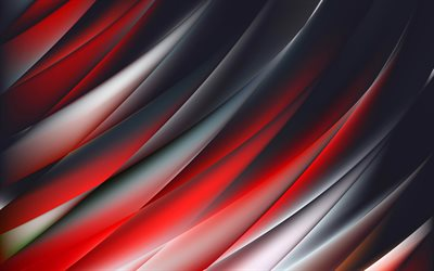 abstract waves, 4k, dark background, curves, art, abstract material